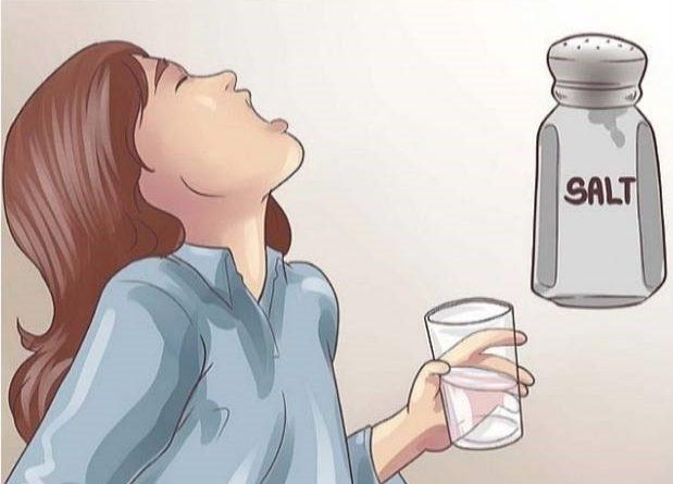 Gargling with salt water sore throat